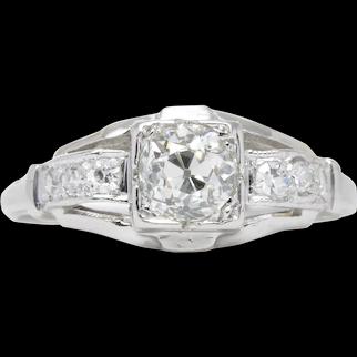 Vintage Diamond engagement ring .57 J-K Si2 old European cut diamond. Platinum. Certified. Art deco. Guaranteed.