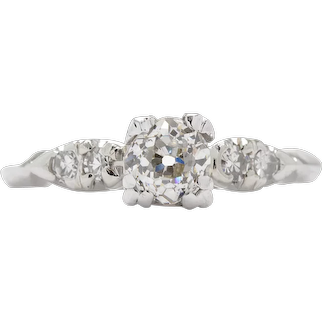 Vintage Diamond engagement ring 0.53 i-j Si2 old mine cut diamond. Platinum. Art deco. certified. Guaranteed. Full refund return policy.