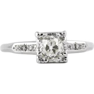 Vintage diamond engagement ring 0.51 K-L Si1 old European cut. Platinum. Certified. Art deco. Signed Jabel. Guaranteed. Full refund policy.