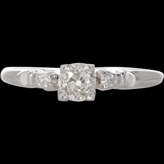 Vintage diamond engagement ring .36 K i1 old European cut diamond. 900 Platinum. Art deco. Guaranteed.