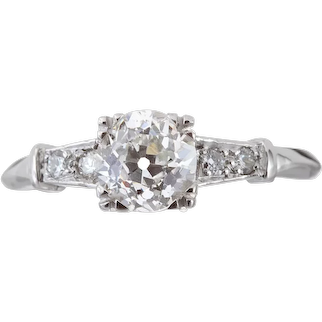 Vintage Diamond engagement ring. 1.16ct GIA report J Si1 old European cut. 900 Platinum. Art deco.