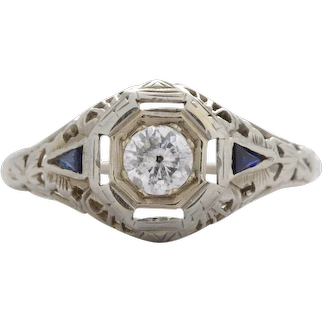 Vintage Diamond engagement ring .35 i i2 round. 14kt white gold. Synthetic sapphires. Art deco. Guaranteed. Full refund return policy.