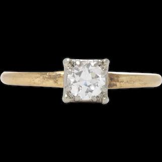 Diamond Vintage engagement ring. 0.40 J VS2 old European cut diamond. 14kt gold. Art deco 1940s