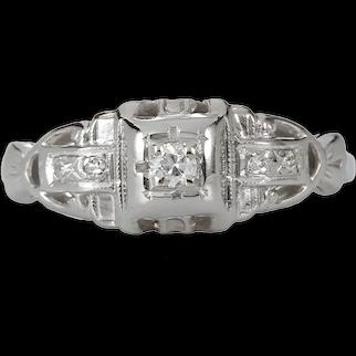 Vintage Diamond engagement ring .05 old European cut diamond. 18kt white gold. Art Deco. Guaranteed. Full refund return policy.
