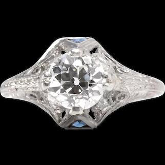Vintage diamond engagement ring 1.31 GIA report H VS2 old European. 900 Platinum. Sapphires. Edwardian.