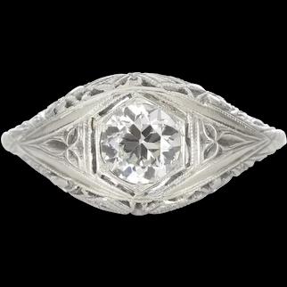 Vintage diamond engagement ring .59 GIA report J VS1 old European cut diamond. 18kt white gold. Art deco.