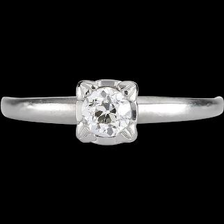 Vintage diamond engagement ring .31 old European cut. GIA report i Si1 natural. 900 Platinum. Art deco 1930s. Guaranteed.
