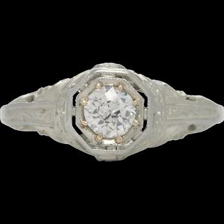 Vintage diamond engagement ring .36 H-i Si2 old European cut. 18kt white gold. Art Deco. Filigree.