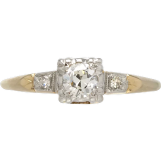 Vintage Diamond engagement ring .25 H-i Si1+ old European cut. 14kt gold. Art Deco 1930s.