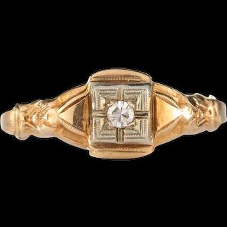 Vintage Diamond engagement ring. 2mm round diamond. 10kt rose gold. Art deco. Guaranteed. Full refund return policy.