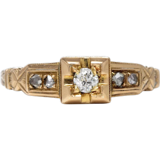 Antique Diamond Engagement ring .15ct i VS2 Old European cut. 14kt gold. Rose cut diamonds. Victorian.