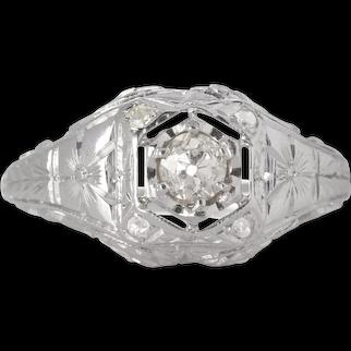 Vintage diamond engagement ring .24 old European cut. 14kt white gold. Art deco 1930s. Guaranteed.