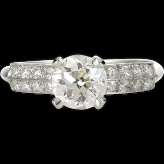 Vintage Diamond engagement ring 1.02 GIA report L Si1 old European diamond. 900 Platinum. Art deco.