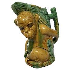 Yellow Monkey  Majolica Pitcher