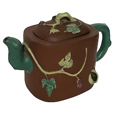 Late 19 Century Yixing Teapot with Squirrel and Grapevine