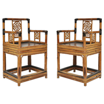 Pair of Chinese Antique Bamboo Armchairs