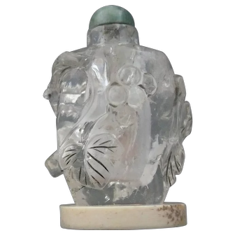 Chinese Rock Crystal Snuff Bottle with Bone Stand