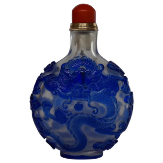 Chinese VIntage Clear Glass Bottle with Blue GLass Overlay in a Dragon Design