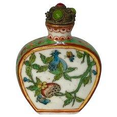 Vintage Painted Porcelain Snuff Bottle in Famille Verte Enamels