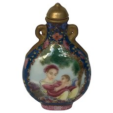 Vintage Painted Porcelain Snuff Bottle with European Beauty and Child