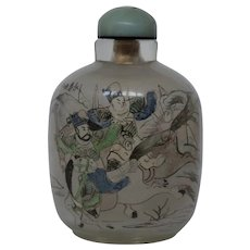 Large Reversed Glass Painted Snuff Bottle with Military Scene