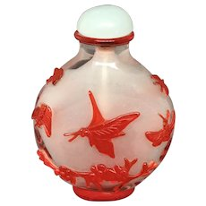 Beijing Glass Cameo Snuff Bottle with Butterlies