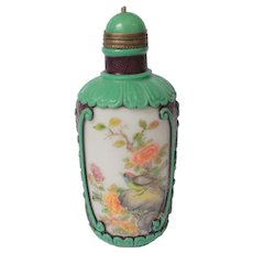 Glass Snuff Bottle with Overlays and Bird and FLower Painting