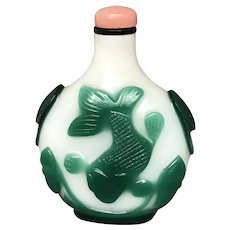 Milk or Opaline Glass Snuff Bottle with Green Overlay