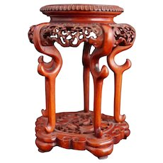 Exquisite Miniature Red Lacquer Stand