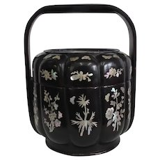 Qing Dynasty Black Lacquer Basket with Mother of Pearl