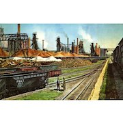 NYC New York Central RR Train Post Card from a Painting by Harold Fogg, noted artist of Railroads.  NYC's Pittsburgh & Lake Erie U.S. Steel Corp, Youngstown, OH.