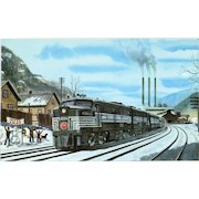 NYC New York Central RR Train Post Card from a Painting by Harold Fogg, noted artist of Railroads.  NYC's Pittsburgh & Lake Erie Buffalo 1956.  PC Dimensions 5 1/2 x 3 1/2 in. Excellent condition, stored in a plastic sleeve.