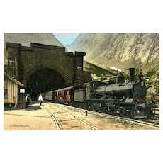 SWITZERLAND Vintage GOTTHARDBAHN Tunnel and Steam Engine Postcard, 1912. VG Condition, minor corner wear.  Unposted
