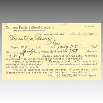 1893 NORTHERN PACIFIC RR Co. Notice of Land Deed Payment due.  Used, Sent as Post Card  , Postmarked Tacoma, WA, 1893