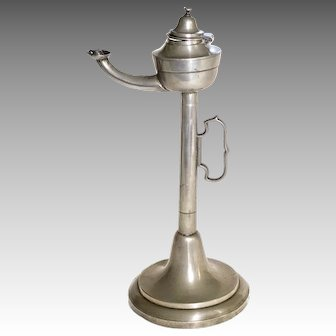 19th C Students Pewter Whale Oil Lamp