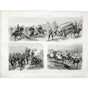 1874 Bilder Atlas Military print #24 Prussian Troops on the March 19th C.