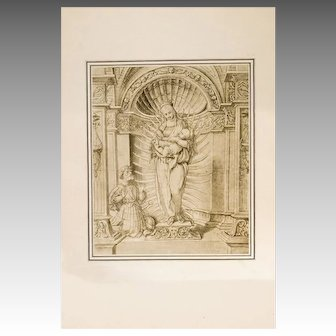 1886 Folio Photogravure After Hans Holbein Sketch Mary Jesus