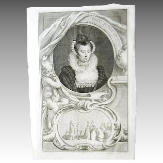 18th C Houbraken Engraving After Oliver Mary Queen of Scots Henry VIII, Original
