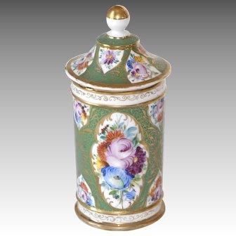 Old Paris Porcelain Covered Beaker Hand Painted Botanical and Gold Design