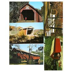 FIVE PENNSYLVANIA Covered Bridges Postcards. Unposted,RPPC,one soft focus, others sharp. Condition VG+ Hupt's Mill, Bucks County Bridge 212, built 1872 County Bridge 86, Bucks County, built 1843 Frankenfield Bridge, Bucks County 51, built 1872 Button