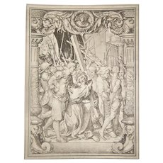 "Print XIII ""Jesus Crucifixion"" Christ with Cross 1886 Folio Photogravure After Hans Holbein"