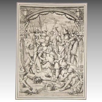 "Print XIV ""Jesus Crucifixion"" Christ being Placed on Cross 1886 Folio Photogravure"