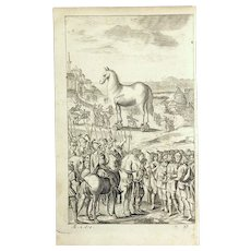 "1716 ""THE WORKS OF VIRGIL"" in English Verse by Mr Dryden, VOL. III.  Woodcut Engraving #37 The ""TROJAN HORSE"". Print in Excellent Condition on Hand Laid Chain Link Paper of the Period, Only the Woodcut of the Horse is Included."