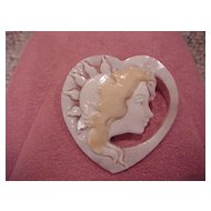 "Three-Color Cameo - 1985 - Signed - ""Lady and the Sun"" - Heart Shape"