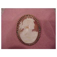 """Cameo of Diana, """"Crescent Moon"""" - brooch/pendant - 14KG - circa 1900"""