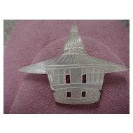 "Mother-of-Pearl ""Pagoda"" Brooch"