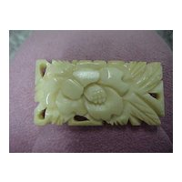 Victorian Carved Bone Brooch, Floral
