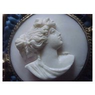 """1850's Coral Cameo - """"Diana"""" - Brooch - in Sterling Art Nouveau Setting"""