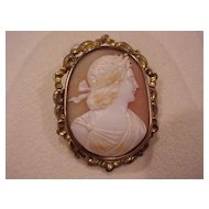 "Roman Man Cameo: in a ""Baroque"" Brass Bezel"