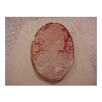"""Lady with Flowers"" Cameo - Italian - shell - 14KG - brooch/pendant"